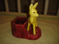Vintage Shawnee Pottery Planter USA 624 Yellow Deer On Red Rocks