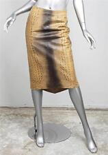 ROBERTO CAVALLI Tan Brown Alligator Stamped Leather Pencil Skirt sz. Small