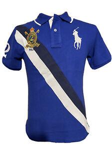 Polo Ralph Lauren Boys Big Pony Blue Stripe Shirt Size M (10-12) $48
