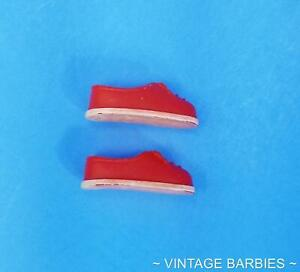 Tutti Doll Red & White Shoes Japan Excellent  ~ Vintage 1960's