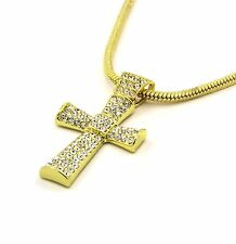 "Mens 14k Gold Filled Fully Cz Cross Pendant Hip-Hop 24"" Snake Necklace Chain 02"