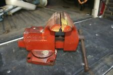 """VINTAGE WILTON SWIVEL BENCH VISE ANVIL PIPE JAWS 3 1/2"""" RED 121068 MADE IN USA"""