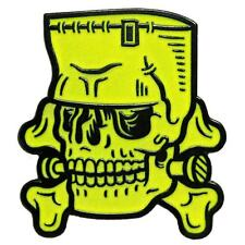 Sourpuss Enamel Pin Frankenstein Monster Skull Rockabilly Retro Tattoo Badge