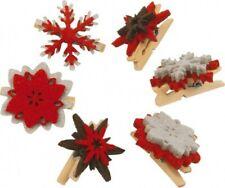 Set de 6 Pinzas Navideñas decorativas. Adornos Navideños. Decoración Pegs