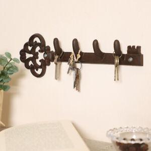 Vintage Antique Cast Iron Wall Mounted Key Storage Holder Hook Board Rack Store
