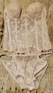 Vintage Carnival Bustier Bra 34A Garters  Panties Sz Large Cream NOS ILGWU USA