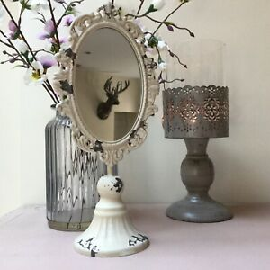 Small Oval Dressing Table Mirror Antique Chic Vintage Shabby White Stand Antique
