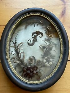 Antique Victorian Mourning Hair Wreath In Oval Shadowbox Human Hair Friendship