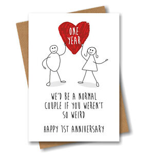 Funny 1st Anniversary Card - One Year Heart - Happy Weird Couple Wedding Love