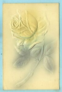 Heavily Embossed, Hand Colored, Big Yellow Rose Stem...