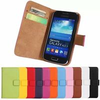 Genuine Leather Wallet Case Flip Stand Cover For Samsung Galaxy Ace 3 S7270