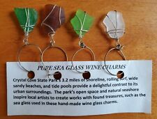 Set of 4 Handmade Sea Glass Wine Charms - Beach Green White Brown Glass Gift