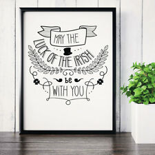 Luck Of The Irish Ireland Fun Typography Poster Print  Wall Art 041