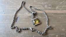 Vintage Sterling Silver Rustic Handmade Amber Pendant Necklace