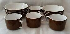 12 piece vintage retro Mikasa Mediterrania Expresso Brown Flat Cup and Bowl set