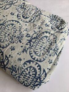 Pottery Barn King Duvet Cover Farmhouse Blue White Reversible Linen Blend Ikat