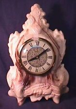 Large Heavy Carved Shabby Resin Mantle Clock