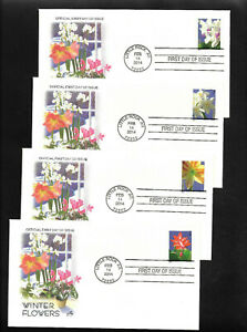 US FDC 2014 Winter Flowers 4 Covers Cacheted by Artcraft Scott 4862-65 |