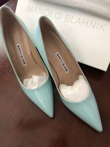 Manolo Blahnik Satin Blue NIB New 38 US 8 Heels Pumps Patent Leather