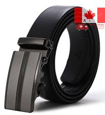 ITIEZY Men s Leather Ratchet Dress Belt Automatic Sliding Buckle 35mm Wide