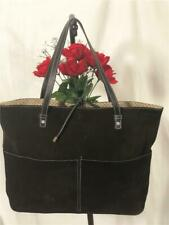 KATE SPADE Brown Suede Leather Trimmed Outer Pockets Large Shoulder Tote Bag