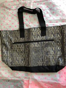 ❤️Victoria's Secret  Pink Gray&Black Large Gold Logo Tote bag Nwt Rare