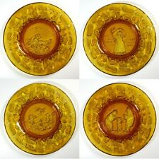 "Tiara Exclusives 4-pc Set 6-1/2"" Nursery Rhyme Mother Goose Amber Glass Plates"