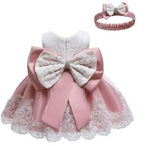 New Pink Party Wear For Baby Girl Birthday Dress Princess Wedding Kids Clothes