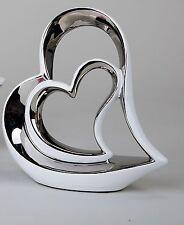 moderne CŒUR DÉCORATIF sculpture en céramique blanche / argenté hauteur 21 cm