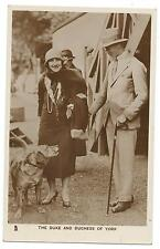 ROYALTY - DUKE & DUCHESS of YORK with DOG  Raphael TUCK Real Photo Postcard
