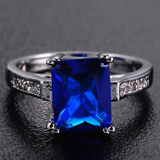 Size 9/S Nice Jewelry Lady's 10KT White Gold Filled Blue Tanzanite Wedding Ring
