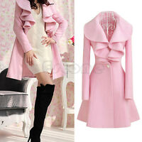 Women's Warm Long Coat Ruffle Falbala Blend Jacket Outwear Overcoat Parkas M-2XL