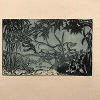MAURICE DE BECQUE Gravure animaliere Eau Forte Art Deco 1930 belette weasel