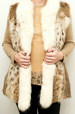 Fur Gilet Natural Canadian Lynx with White Arctic Fox