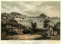 Macau China Penha Hill Harbor View 1856 Perry Expedition litho print