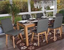 6x chaise de salle à manger Zadar, fauteuil, rétro, tissu ~ gris avec couture