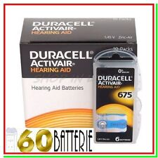 60 DURACELL 675 PR44 ACTIVAIR Batterie Protesi Pile per Apparecchi Acustici