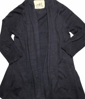 Angel of the North Anthropologie Linen Blend Tiered Sweater Cardigan Small Gray