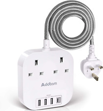 Extension Lead with USB C Ports, Power Strips with 2 Way Outlets 4 USB4.5A, 1 C