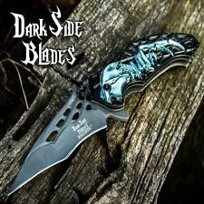 "8.25"" Karambit Black Skull Spider Spring Assisted Open Folding Pocket Knife New"
