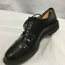 J. CREW Oxfords Cap Toe Shoes Sz 10 Black Leather Oxfords Lace-Up Made In Italy