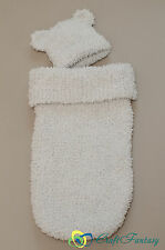 New Hand Knitted Baby Cocoon Sleeping Bag Sack Papoose and Hat 0-3 months
