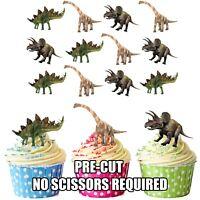 PRECUT Dinosaur Herbivore 12 Edible Cupcake Toppers Cake Decoration Birthday