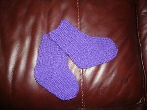 Hand gestrickte Baby Socken 100% Schurwolle 3 - 6 Monate