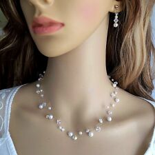 CRYSTAL AND PEARL ILLUSION NECKLACE 3 STRAND HANDMADE DESIGNER BRIDAL Jewellery