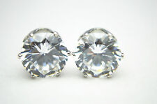 9mm Clear Round Cubic Zirconia Stud Earrings Men/Women Sparkling Bling Shine