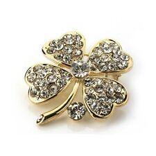 Beautiful 18k Gold Plated Crystal Four Leaf Clover Shamrock Brooch