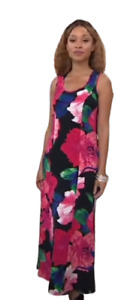Susan Graver Printed Liquid Knit Maxi Dress Black/Pink X-Large