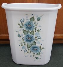 HP ROSES/SHABBY TO CHIC/WASTE PAPER BASKET/NEW ITEM BLUE ROSES