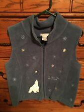 *GUC* Christopher & Banks Blue Fleece Vest w/Polar Bear & Stars